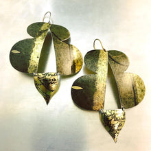 Load image into Gallery viewer, Antiqued Gold Abstract Butterflies Zero Waste Tin Earrings