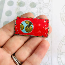 Load image into Gallery viewer, Encircled Weathered Red Over Aqua Upcycled Tin Brooch