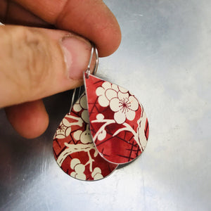 Cherry Blossoms on Carmine Upcycled Teardrop Tin Earrings