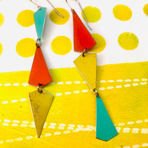 Gold, Turquoise & Coral Small Narrow Kites Recycled Tin Earrings