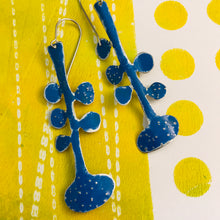 Load image into Gallery viewer, Medium Blue Matisse Leaves Upcyled Tin Earrings