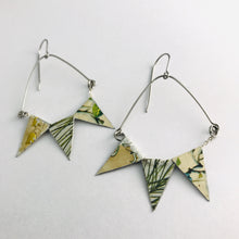 Load image into Gallery viewer, Mixed Botanicals Tiny Pennant Swag Upcycled Tin Earrings