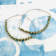 Load image into Gallery viewer, Black & Gold Spiraled Tin Big Hoop Earrings