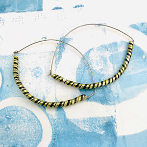 Black & Gold Spiraled Tin Big Hoop Earrings