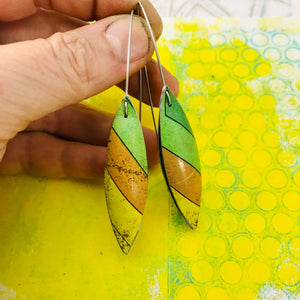 Cool Stripes Long Pods Upcycled Tin Leaf Earrings