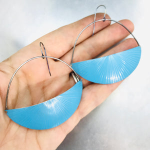Shimmery Sky Blue Half Moon Recycled Tin Earrings