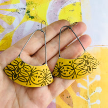 Load image into Gallery viewer, Mid Century Beeswax Yellow Wide Arc Zero Waste Earrings