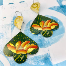 Load image into Gallery viewer, Big Orange Flowers on Polka Dots Trefoil Upcyled Tin Earrings