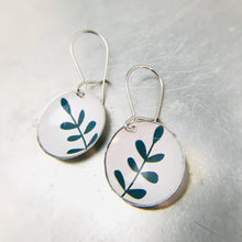 Load image into Gallery viewer, Tiny Green Leaves on White Tiny Dot Tin Earrings