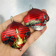 Load image into Gallery viewer, Oasis on Red Recycled Big Tin Earrings