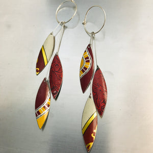 Falling Leaves in Mixed Reds Upcycled Tin Earrings