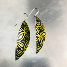 Load image into Gallery viewer, Black and Gold Upcycled Tin Leaf Earrings