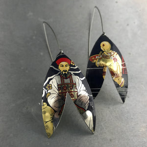 Japanese Scene Upcycled Tin Earrings
