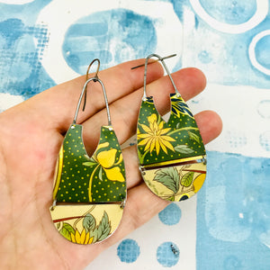 Yellow Blossoms in Polka Dots Zero Waste Earrings