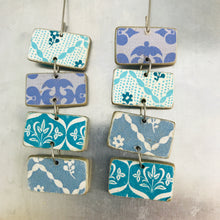 Load image into Gallery viewer, Mixed Blue Patterned Rectangles Recycled Book Cover Earrings