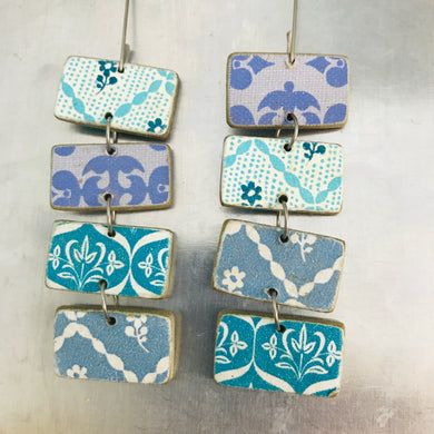 Mixed Blue Patterned Rectangles Recycled Book Cover Earrings