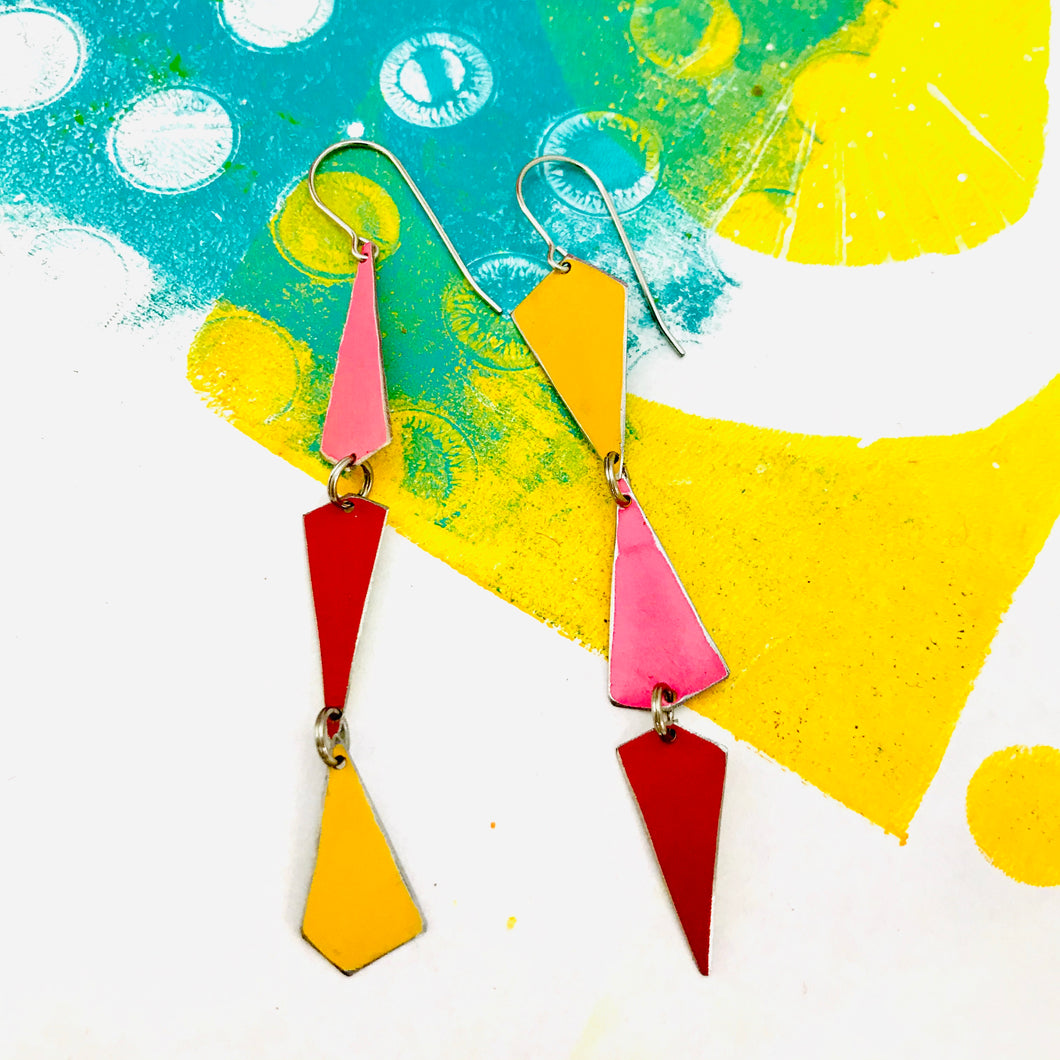 Goldenrod, Bubblegum & Coral Small Narrow Kites Recycled Tin Earrings