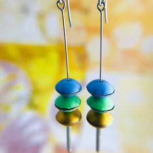 Cornflower, Fresh Pea, Gold Tiny Macarons Tin Earrings