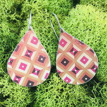 Load image into Gallery viewer, Shades of Red Geometric Pattern Upcycled Teardrop Tin Earrings by adaptive reuse jewelry
