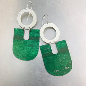 Antiqued Paris Green Chunky Horseshoes Zero Waste Tin Earrings