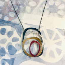 Load image into Gallery viewer, Twilight, Snow, Gold, & Scarlet Scribbles Upcycled Tin Necklace