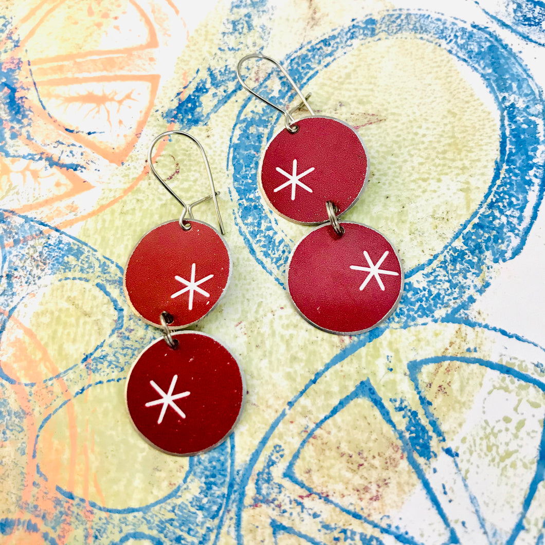 White Asterisks on Red Circles Tin Earrings