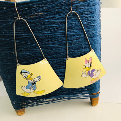 Donald Duck & Daisy on Butter Yellow Recycled Tin Earrings by adaptive reuse jewelry