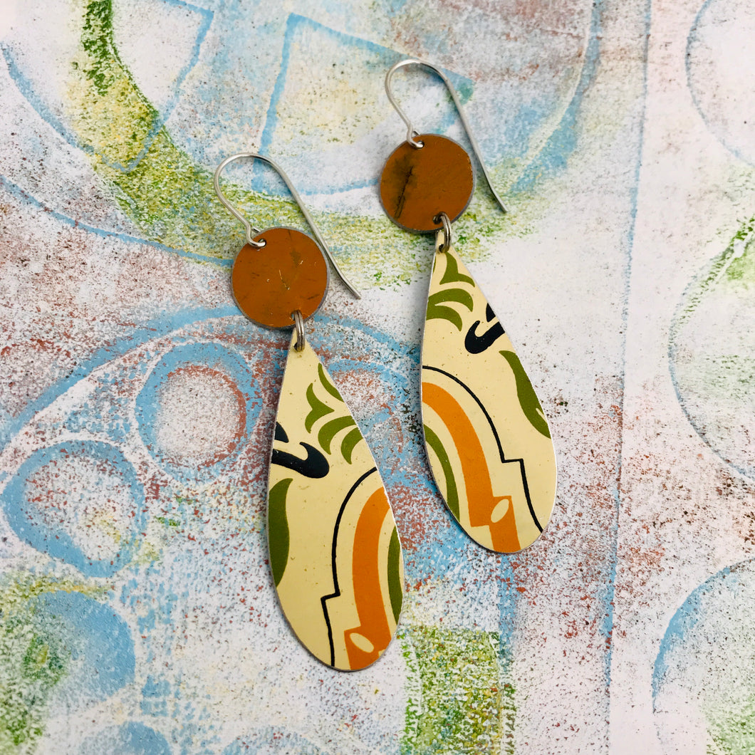 Vintage Sugar Tin Upcycled Teardrop Tin Earrings
