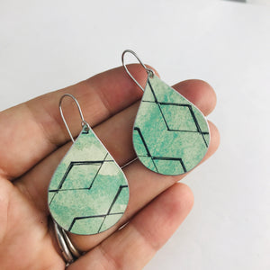Black Diamond Pattern on Green Upcycled Teardrop Tin Earrings
