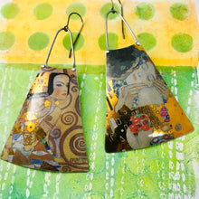 Load image into Gallery viewer, Klimt The Kiss Upcycled Tin Long Fans Earrings