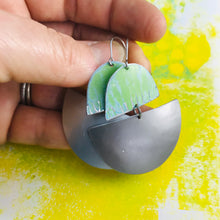 Load image into Gallery viewer, Antiqued Green & Pewter Upcycled Tin Boat Earrings