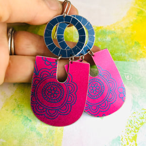 Shimmery Bright Pink Chunky Horseshoes Zero Waste Tin Earrings