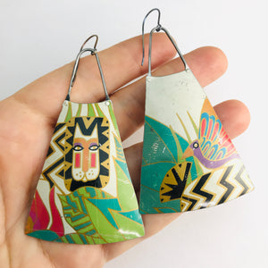 Laurel Burch Upcycled Vintage Tin Long Fans Earrings