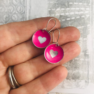 Etched Silver Heart on Hot Pink Tiny Dot Tin Earrings