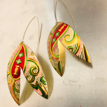 Load image into Gallery viewer, Shimmery Golden & Red Paisley Upcycled Tin Double Leaf Earrings
