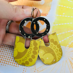 Big Mustard Chunky Horseshoes Zero Waste Tin Earrings