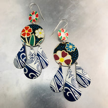 Load image into Gallery viewer, Mixed Dark Blues & Flowers Zero Waste Tin Chandelier Earrings