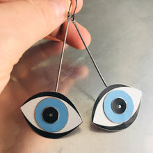 Load image into Gallery viewer, Protective Blue Eye Upcycled Tin Earrings