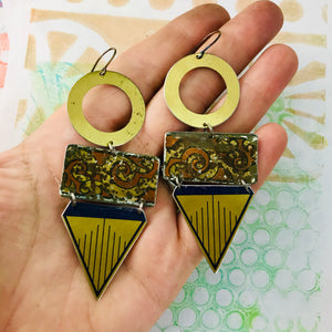 Mixed Geometric Talisman Recycled Tin Earrings
