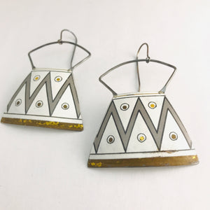 Zig Zag Gray & White Zero Waste Tin Earrings