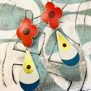 Big Red Flowers and Teardrops Upcycled Long Pod Tin Earrings