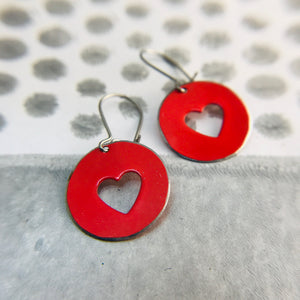 Red Heart Cutouts Tiny Tin Earrings