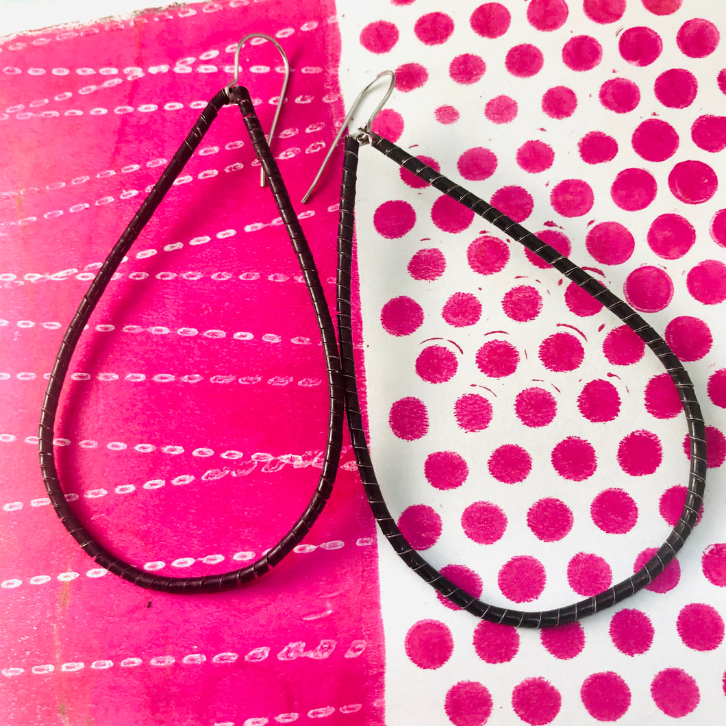 Spiraled Black Tin Big Teardrop Earrings