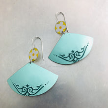 Load image into Gallery viewer, Yellow Flowers & Aqua Fans Upcycled Tin Earrings