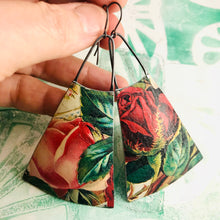 Load image into Gallery viewer, Big Red Roses Upcycled Tin Long Fans Earrings