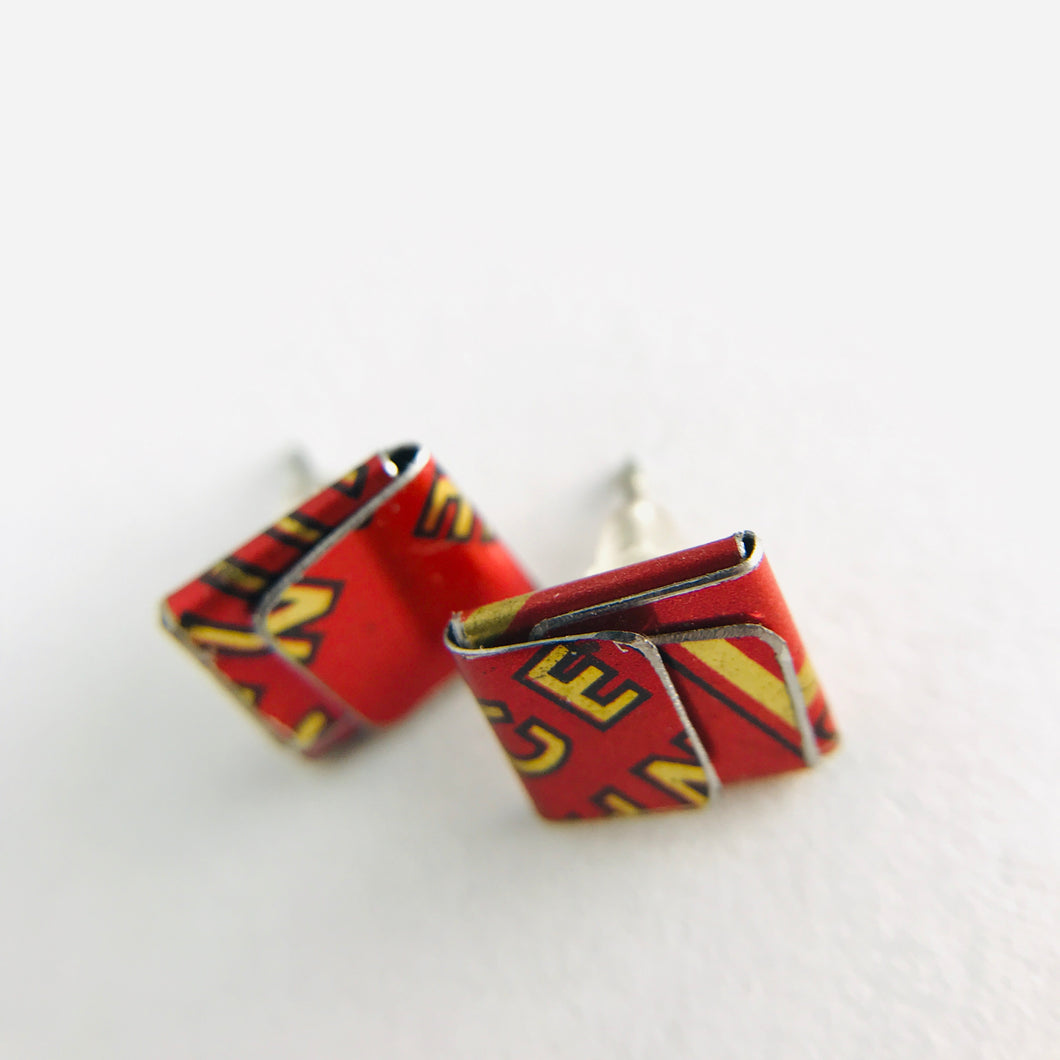 Paprika Folded Square Upcycled Tin Post Earrings