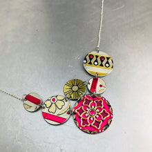 Load image into Gallery viewer, Mixed Pink & Gold Multi Circle Upcycled Tin Necklace