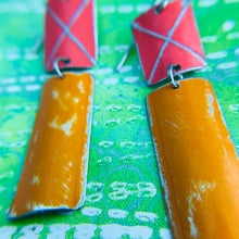 Load image into Gallery viewer, Rustic Deep Coral & Persimmon Zero Waste Tin Earrings