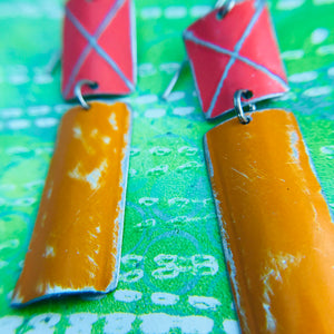 Rustic Deep Coral & Persimmon Zero Waste Tin Earrings