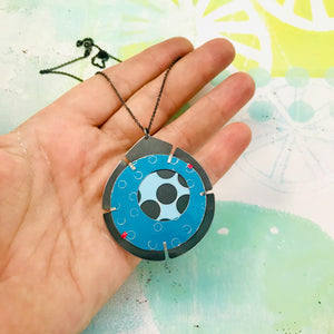 Encircled Pale Aqua in Turquoise Upcycled Tin Earrings
